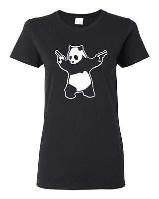 Ladies Panda Guns 2nd Amendment Pro Gun Rights Rifle Pistol Funny T-Shirt Tee