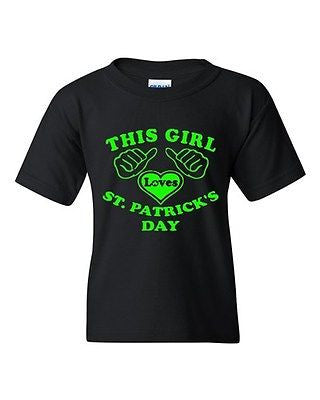This Girl Loves St. Patrick's Day Irish Clover Novelty Youth Kids T-Shirt Tee