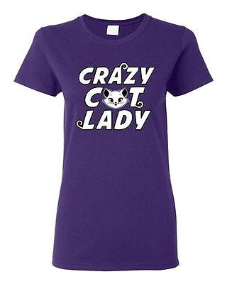 Ladies Crazy Cat Lady Single Women Pet TV Cartoon Parody Funny DT T-Shirt Tee