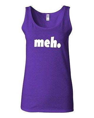 Junior Meh Geek Nerd Cool Retro Novelty Statement Graphics Tank Top
