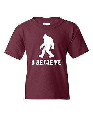 I Believe Sasquatch Bigfoot Yeti Funny Humor Novelty Youth Kids T-Shirt Tee
