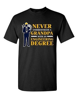 Never Underestimate A Grandpa With Engineering Degree Funny DT Adult T-Shirt Tee