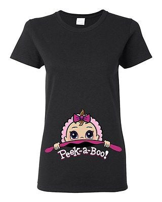 Baby Girl Peek A Boo Cute Babies Novelty Ladies DT T-Shirt Tee