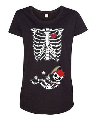 Baby Skeleton Atlanta Baseball Fan Sports Novelty Maternity DT T-Shirt Tee