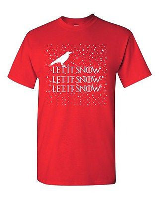 Let It Snow Swords Crow TV Series White Christmas Funny DT Adult T-Shirt Tee
