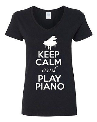 V-Neck Ladies Keep Calm And Play Piano Keyboard Pianist Music Lover T-Shirt Tee