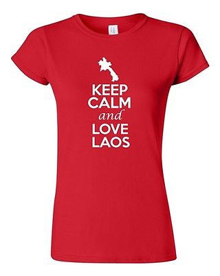 Junior Keep Calm And Love Laos Country Nation Patriotic Novelty T-Shirt Tee