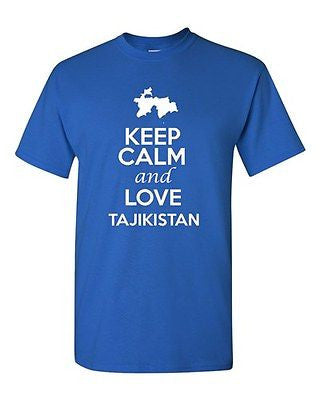 Keep Calm And Love Tajikistan Country Nation Patriotic Novelty Adult T-Shirt Tee