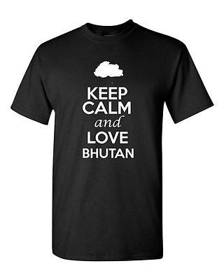 Keep Calm And Love Bhutan Country Nation Patriotic Novelty Adult T-Shirt Tee