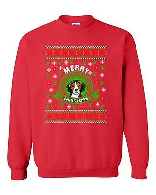 Merry Christmas Beagles Dog Pet Ugly Christmas Funny DT Crewneck Sweatshirt