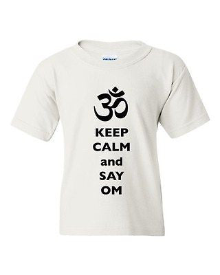 Keep Calm And Say Om Hindu Sanskrit Symbol Religion DT Youth Kids T-Shirt Tee