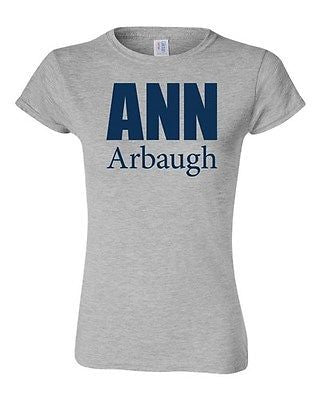 Junior Ann Arbaugh Bold Football Michigan Sports Game Novelty T-Shirt Tee