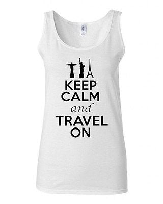 Junior Keep Calm And Travel On Graphic Destination Humor Novelty Tank Top