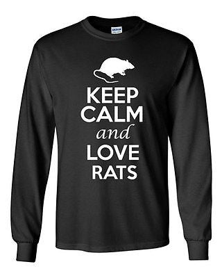 Long Sleeve Adult T-Shirt Keep Calm And Love Rats Rodents Animals Rat Lover