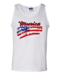 Adult White 'Murica USA 4th of July America Funny Tank Top Freedom T-Shirt