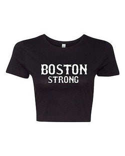 Crop Top Ladies Boston Strong Support Justice Skyline 617 Marathon T-Shirt Tee
