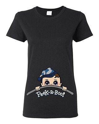 Baby Boy Peek A Boo Cute Babies Novelty Ladies DT T-Shirt Tee