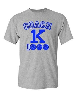 New Coach K 1000 Wins Basketball 1K Wins Ball Game Sports Adult DT T-Shirt Tee