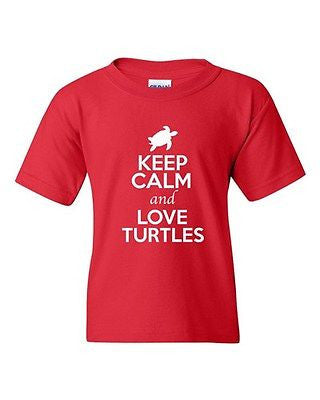 Keep Calm And Love Turtles Tortoise Shell Animal Lover Youth Kids T-Shirt Tee