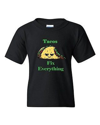 Tacos Fix Everything Tortillas Mexican Dish Crisp DT Youth Kids T-Shirt Tee