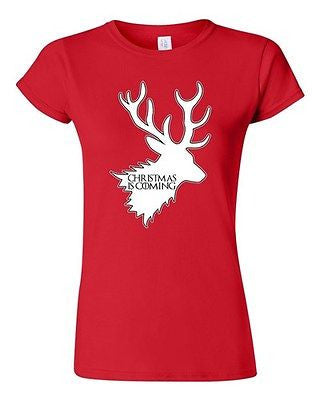 Junior Christmas Is Coming Reindeer Funny Holiday Xmas Humor DT T-Shirt Tee