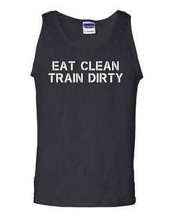 Adult Eat Clean Train Dirty Workout Gym Fitness Tank Top Fit Cross T-Shirt Tee