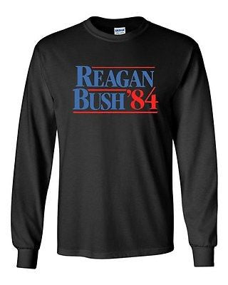 Long Sleeve Adult T-Shirt Reagan Bush '84 Election Politics Poster Funny Parody