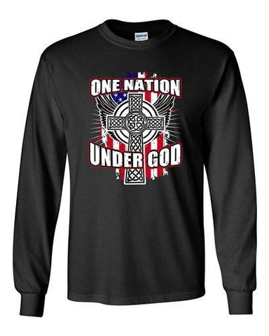 Long Sleeve Adult T-Shirt One Nation Under God Cross USA America Patriotic DT