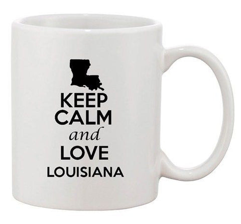 Keep Calm And Love Louisiana Country Map USA Patriotic Ceramic White Coffee Mug
