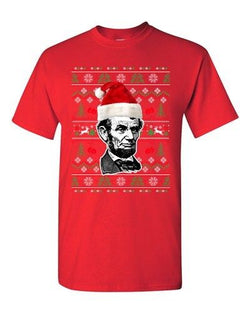 Abraham Lincoln President USA Ugly Christmas Holiday Funny DT Adult T-Shirt Tee