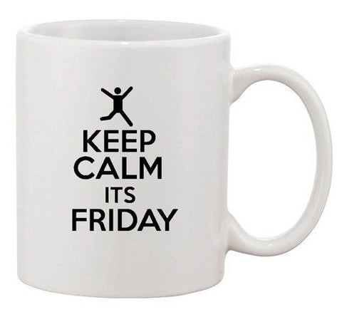 Keep Calm It's Friday Happy Weekend Party Funny Ceramic White Coffee Mug