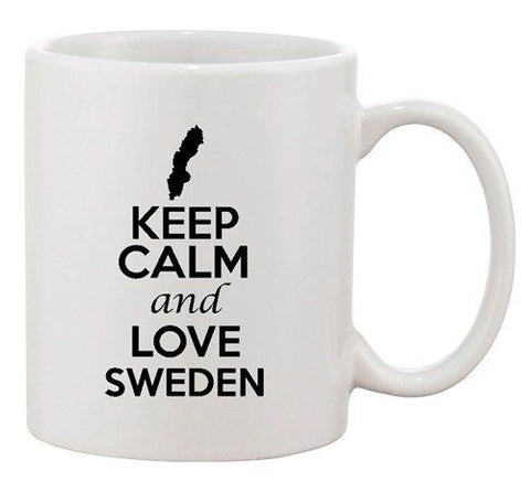 Keep Calm And Love Sweden Europe Country Map Patriotic Ceramic White Coffee Mug