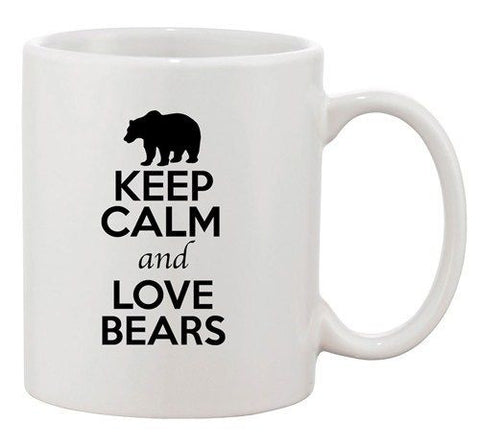 Keep Calm And Love Bears Polar Panda Animal Lover Funny Ceramic White Coffee Mug