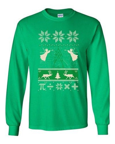 Long Sleeve Adult T-Shirt Math Mathematics Angels Deer Ugly Christmas Funny DT