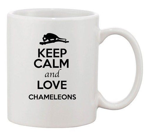 Keep Calm And Love Chameleon Reptile Animal Lover Funny Ceramic White Coffee Mug