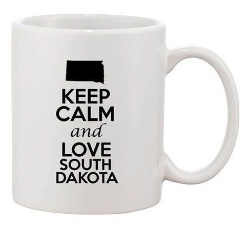 Keep Calm And Love South Dakota Country Map Patriotic Ceramic White Coffee Mug