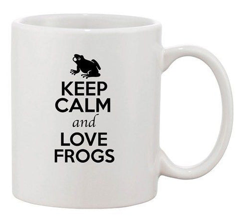 Keep Calm And Love Frogs Toad Swim Animal Lover Funny Ceramic White Coffee Mug