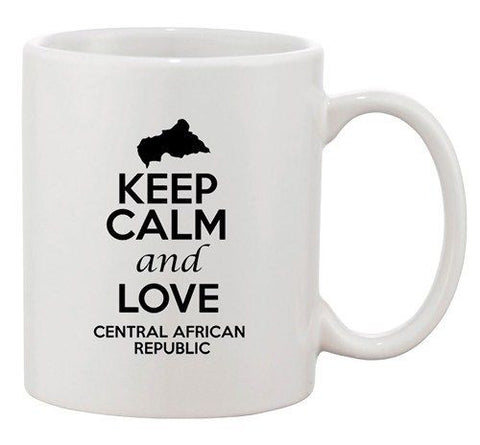 Keep Calm And Love Central African Republic Patriotic Ceramic White Coffee Mug