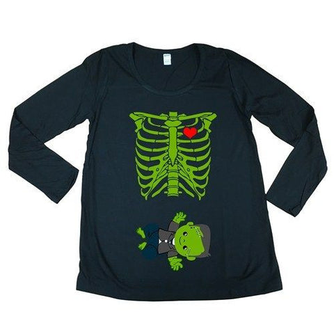 Long Sleeve Baby Skeleton Frankenstein Halloween Funny Maternity DT T-Shirt Tee
