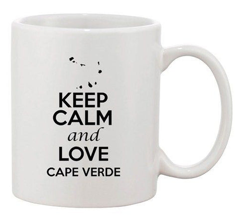 Keep Calm And Love Cape Verde Country Map Patriotic Ceramic White Coffee Mug