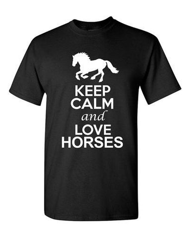 City Shirts Keep Calm And Love Horses Animal Lovers Funny DT Adult T-Shirts Tee