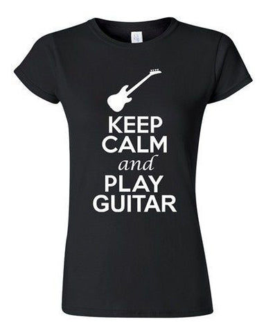 City Shirts Junior Keep Calm And Play Guitar String Music Lover DT T-Shirt Tee