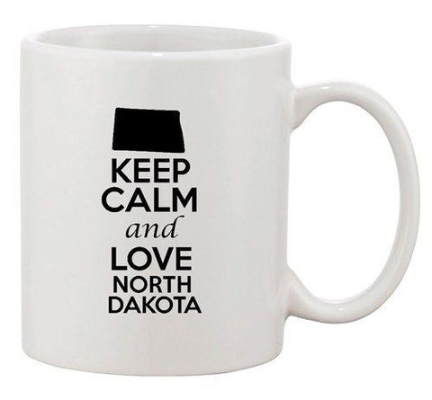 Keep Calm And Love North Dakota Country Map Patriotic Ceramic White Coffee Mug