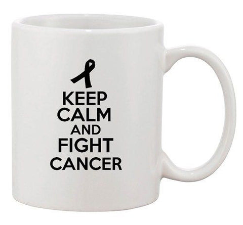 Keep Calm And Fight Cancer Motivate Survive Funny Ceramic White Coffee Mug