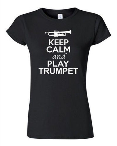 City Shirts Junior Keep Calm And Play Trumpet Brass Music Lover DT T-Shirt Tee