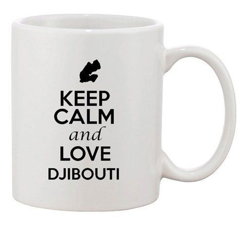 Keep Calm And Love Djibouti Country Map Patriotic Ceramic White Coffee Mug