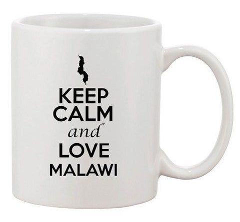 Keep Calm And Love Malawi Africa Country Map Patriotic Ceramic White Coffee Mug