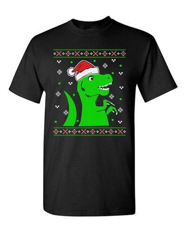 T-Rex Christmas Dinosaur Ugly Xmas Holiday Snow Funny Adult DT T-Shirt Tee