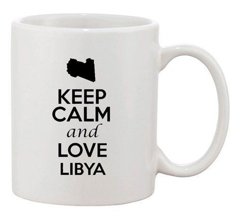 Keep Calm And Love Libya Africa Country Map Patriotic Ceramic White Coffee Mug