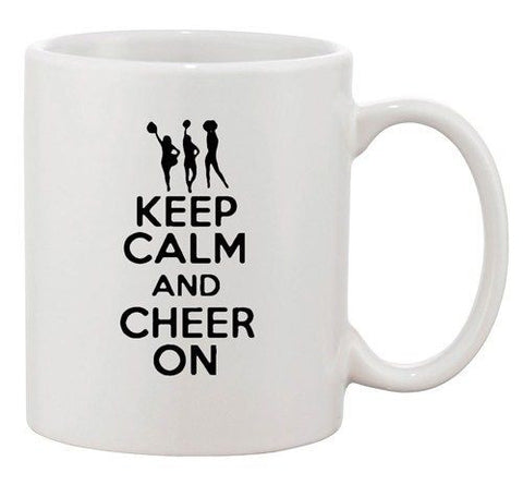 Keep Calm And Love Cheer On Cheerdance Dance Funny Ceramic White Coffee Mug
